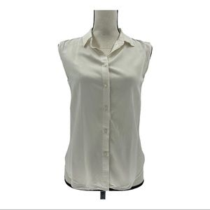 Uniqlo Sleeveless Collared Button Down Shirt Sz XS